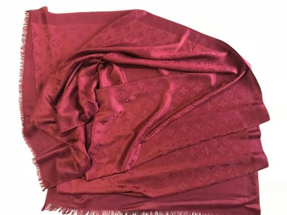 4860d5a06483 ... Cachemire châle rouge en foncé laine écharpe châle monogramme laine  fuchsia foulard écharpe ...