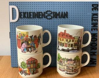 Set of 4 little mugs - Van Nelle Coffee - Paris Exeter Amsterdam New York - Bavaria - Kronester