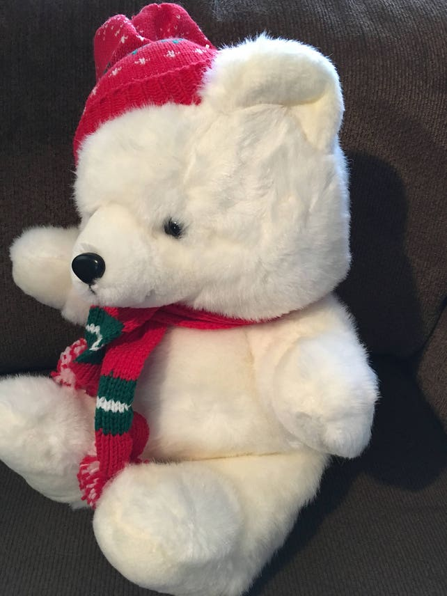 Kmart 1986 Teddy Bear Christmas Holiday White / Red Hat & | Etsy