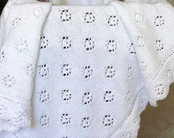 3673cb16eae0 READY TO SHIP - White Tenderness Hand Knit Baby Blanket with Lace Trim -  Baby Shower Gift - Christening baby blanket - Baby Gift