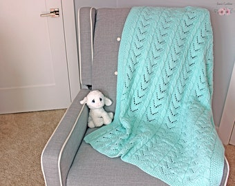 Hand Knit Baby Blanket, Baby Shower Gift, Baby Gift, Shower Gift