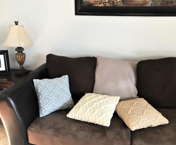 Button Knit Fur Trim Pillow Covers | Pillow covers, Knit