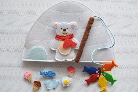 Sensory toy for toddlers Felt fishing game Busy book Felt toy Magnetic fishing game Birthday gift Montessori toy Quiet book