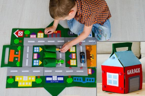 filz auto spiel matte kinder fahrplan spielmatte track f r etsy. Black Bedroom Furniture Sets. Home Design Ideas
