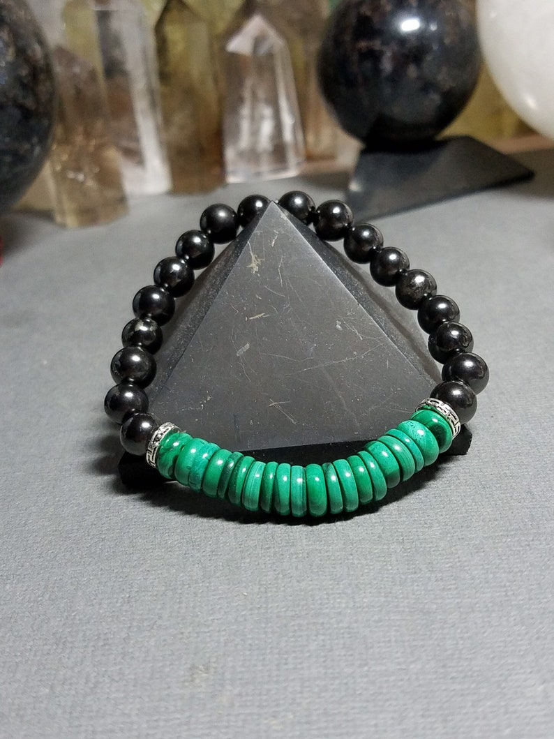 Shungite and Malachite bracelet, mens bracelet, unisex malachite bracelet,  Shungite Bracelet, EMF Protection, Cancer Warriors