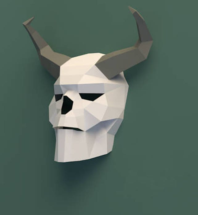 Paper Trophy Head Paper Crafts Papercraft Skull Paper Craft Etsy
