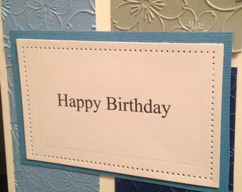 A Blue and Gray Handmade Birthday Card