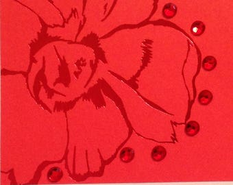 Red Flower Blank Card
