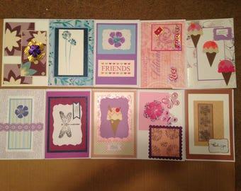 A set of ten handmade cards.