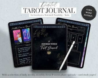 Digital Tarot Journal, Witchy Planner, Modern Witch Journal Digital, Dark Mode Journal, Moon Tarot, Goodnotes, iPad Planner, Mystic Journal