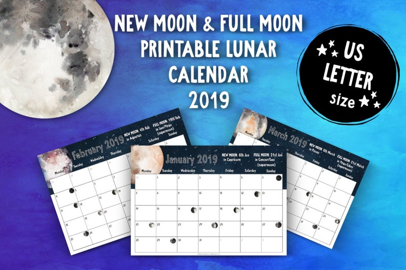 Printable New Moon and Full Moon 2019 Lunar Calendar (US Letter) • Moon  Phases • Moon Cycle