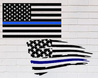 American flag svg, Thin blue line svg, Back the blue svg, Blue lives matter svg, Distressed svg, Police svg, SVG, DXF, eps, png, pdf, Shirt