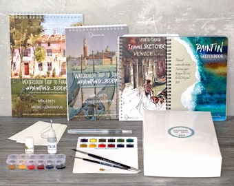 All 4 products:Watercolor kit  Italy & France tutorials Sketchbook Venice PaintIN Sketchbook Fabriano paper FREE Express ship Mother's Gift