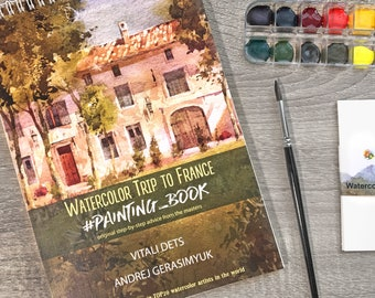 France Watercolor Artbook Kit Tutorial Mother's Day Gift Paints Learn Instruction Step-by-Step Lessons Gift Painting Coloring Sketchbook
