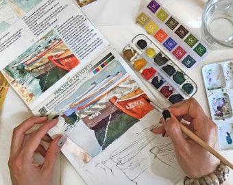 Watercolor coloring book | Etsy