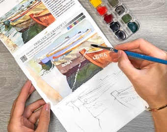 Italy Watercolor Artbook Tutorial Paints Kit Mother's Day Gift dayWatercolor Sketchbook Step-by-Step Coloring Sketchbook Insparea