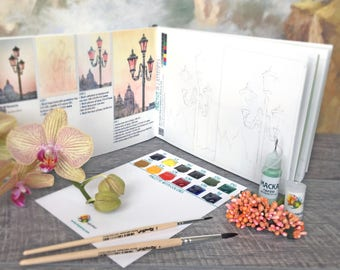 Watercolor Kit with Artbook Creative DIY Gift Watercolor palette Paints How-to Coloring FREE SHIP Watercolor Sketchbook like paint by number