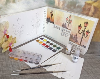 Watercolor Kit with Artbook Italy Mother's Day Gift Watercolor Paints Coloring FREE SHIP Watercolor Sketchbook Insparea paint by number