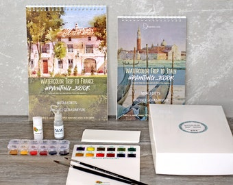 2 products:Watercolor kit Italy&France tutorials FREE Express ship Fabriano paper Insparea Coloring book Paint DIY Kit Mother's Day Gift