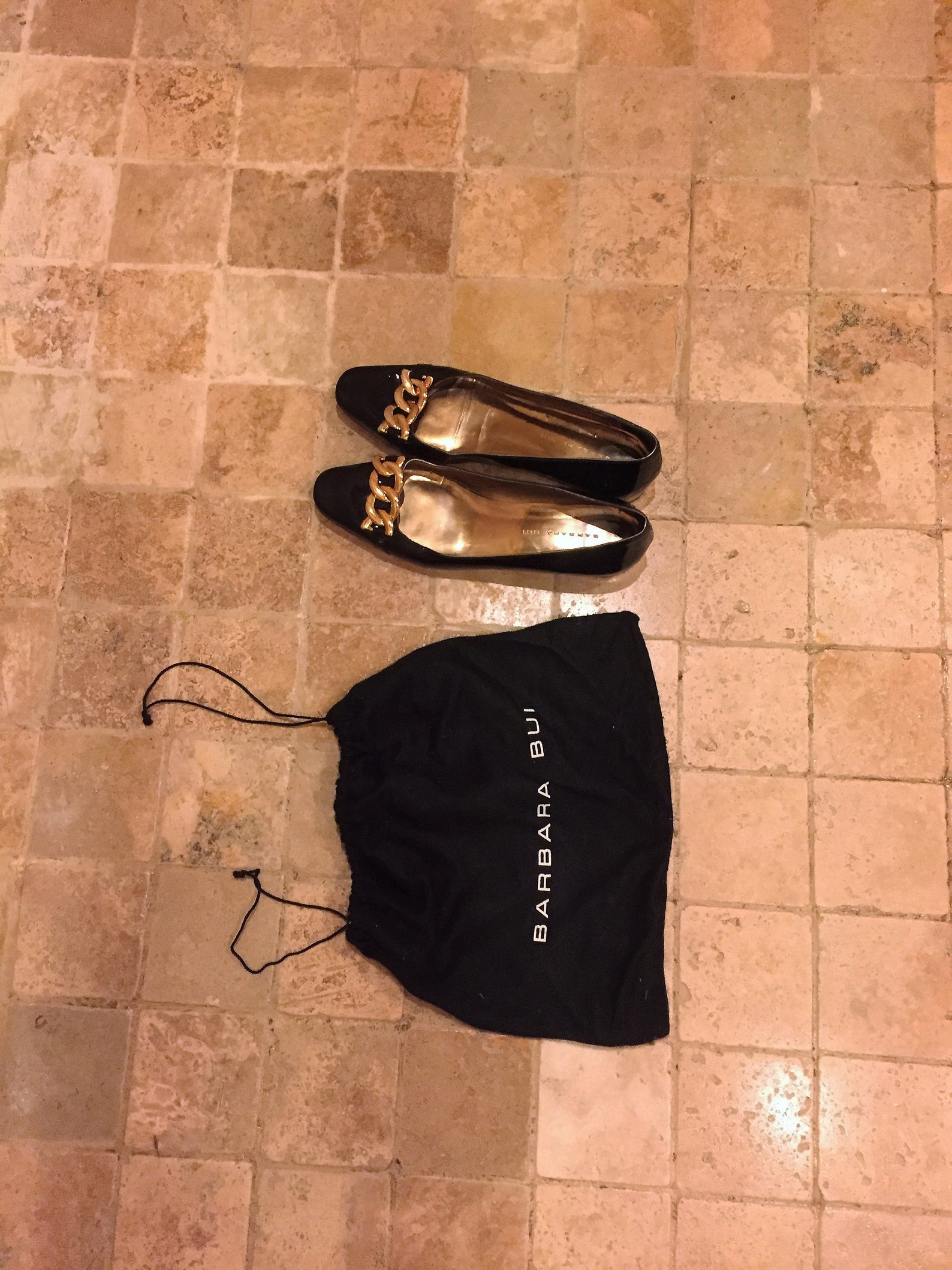 ballerina shoes barbara bui vintage patent leather black ballet shoes with a gold chain