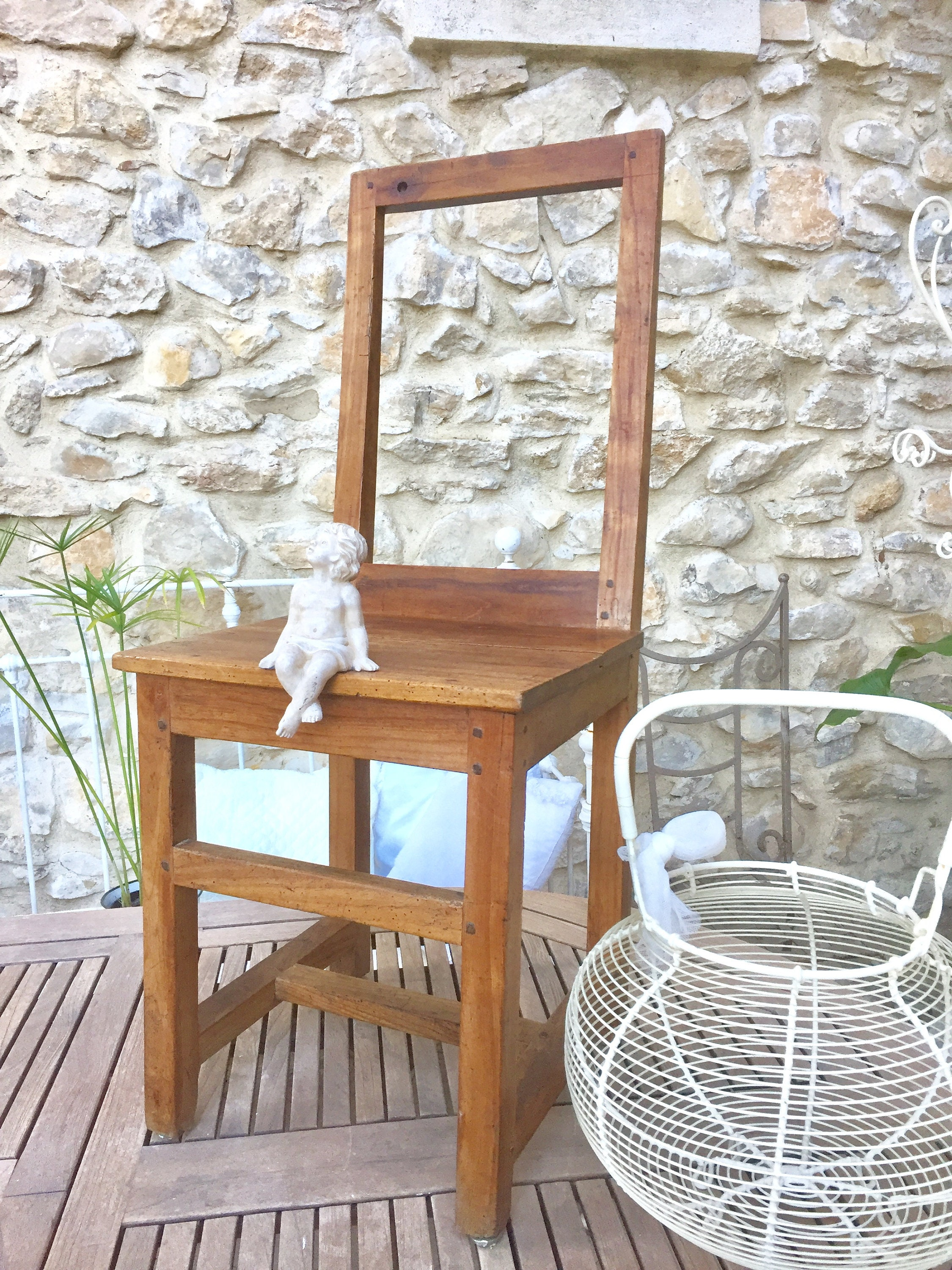 Antique French farmhouse chair handmade vintage wooden dining