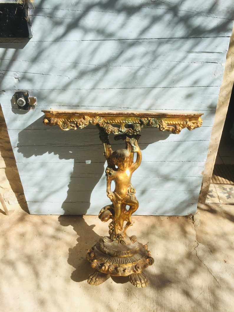 please do not purchase **** Antique French wall console rare cherub putti gilded console table Reserved for BRENDA