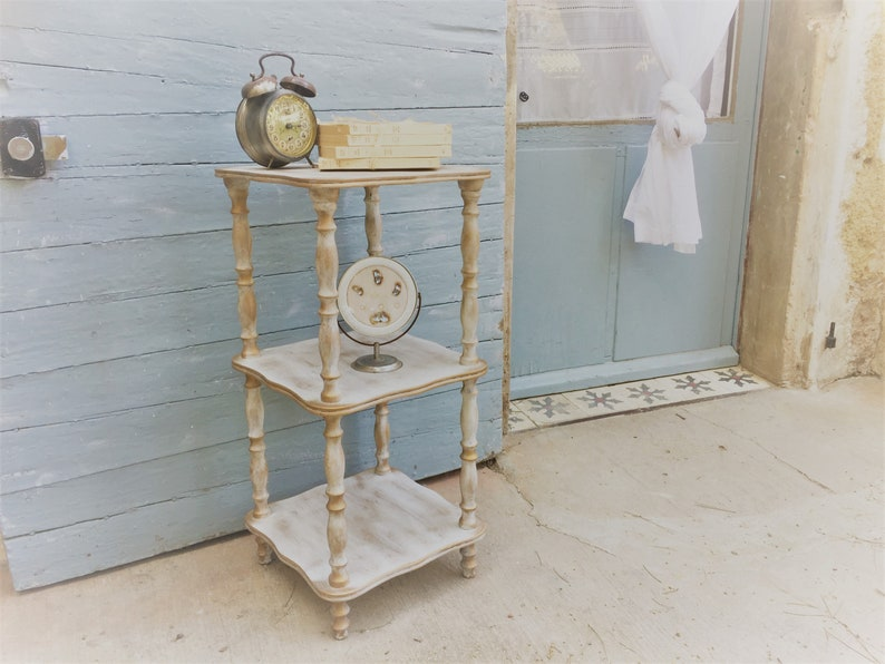 Shabby spindle shelf  Nightstand French vintage bedside table Napoleon III style side end table