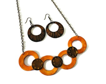 Brown & Yellow Jewelry Set with Linked Circle Necklace and Hoop Dangle Earrings Handmade from Polymer Clay and Painted, Rustic Fall Jewelry