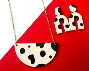 Animal Print Jewelry Set, Semi Circle Pendant Necklace & Arch Earrings with Spotted Cow Print, White and Black Quirky Jewelry, Unique Gift