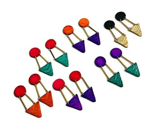 Geometric Statement Earrings, Long Clay & Brass Bar Earrings, Large Drop Dangles or Clip Ons, Colorful Edgy Contemporary Jewelry Handmade
