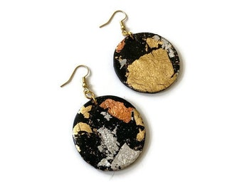 Black Clay & Mixed Metal Earrings, Small Circle Disc Dangles, Modern Minimalist Jewelry, Elegant Everyday Fashion, Anniversary Gift Wife