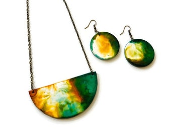 Abstract Painted Jewelry Set- Semi Circle Necklace & Disc Earrings, Dirty Pour Alcohol Ink Jewelry Handmade from Polymer Clay, Unique Gift