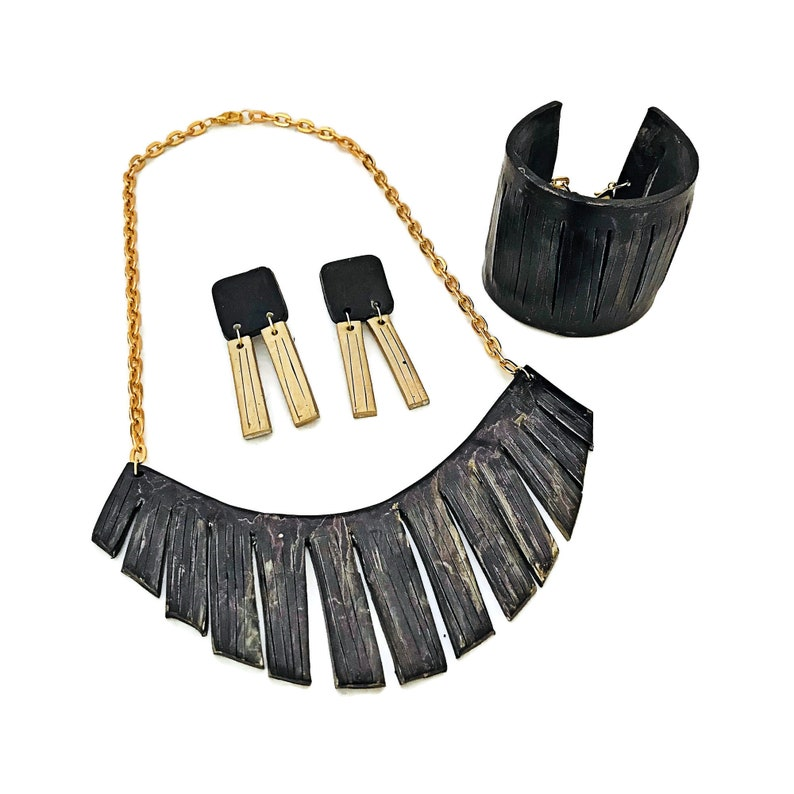 Long Statement Earrings Art Deco Jewlery Set Black Cuff Bracelet Fringe Necklace Polymer Clay Painted with Alcohol Ink Modern Formal