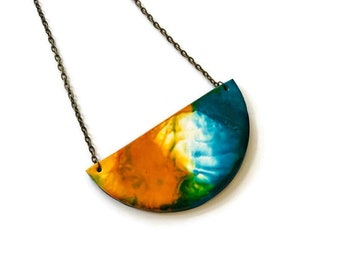 Colorful Painted Clay Pendant Necklace with Abstract Fluid Art Style, Small Semi Circle Bib, Alcohol Ink Jewelry, Unique Boho Gift Sister