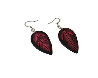Burgundy Fall Leaf Earrings, Autumn Jewelry Gift for Women, Dainty Boho Earrings, Polymer Clay Earring Painted, Small Dangles, Birthday Gift