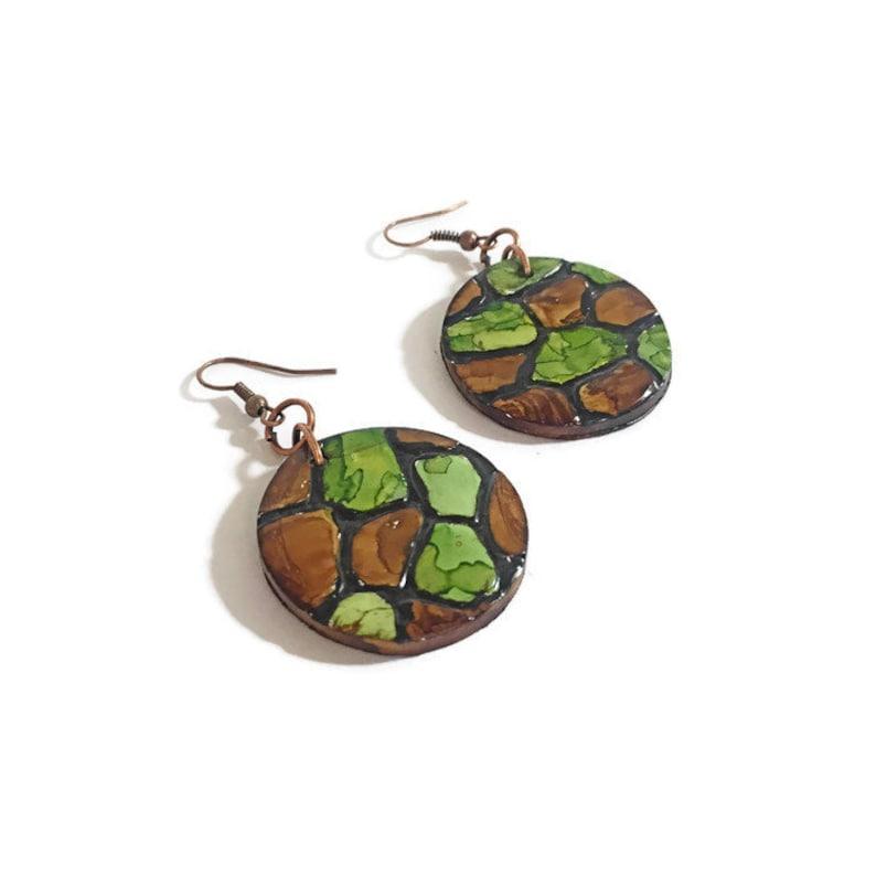 Turtle Shell or Snake Skin Style Animal Print Earrings Dangling Cameo Earrings Female Hunter Gifts Polymer Clay Jewelry Handmade