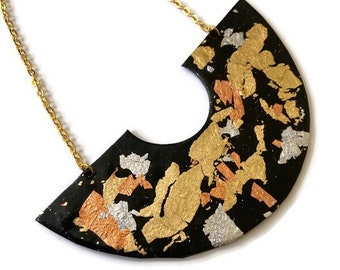 Black Statement Necklace with Mixed Metal Flakes Gold Silver Bronze, Polymer Clay U Shaped Bib, Big Bold Chunky Jewelry Handmade Gift Women