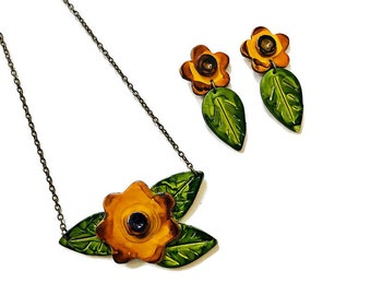 Sunflower Jewelry Set- Floral Statement Necklace & Long Flower Earrings Post or Clip On,  Fall Boho Jewelry Handmade from Clay and Painted