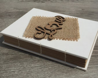 Small Hand Bound Coptic Stitched Wedding Guest Book