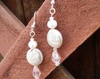 Fresh water pearls and pink crystal earrings