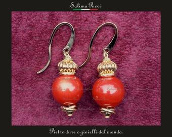 Oceanic Madrepore earrings, hard stones earrings, pendants, stone jewelry ear rings coral coral Gift