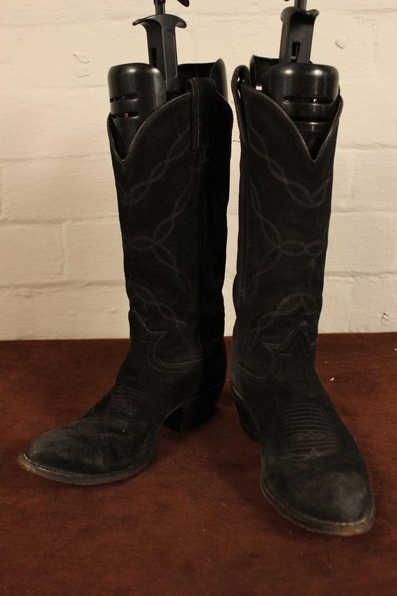 Femmes Vintage cuir de Suède noir Tony Lama-Santiags 6,5 US UK 4.5
