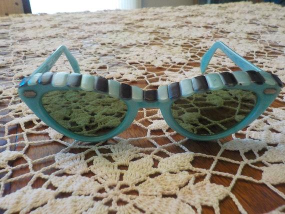 Rare Cabana Sunglasses 1950's Turquoise black  Awn