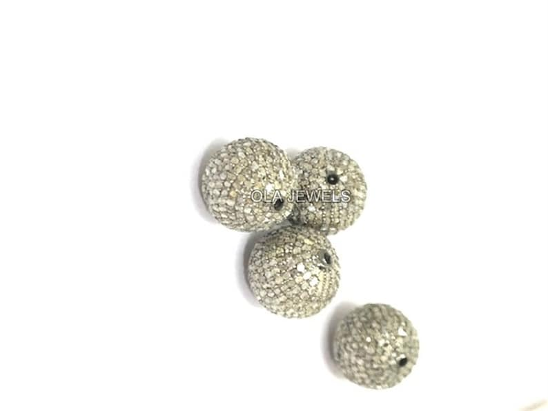 Solid 925 sterling silver diamonds round ball with 14mm each price for 1 psc.