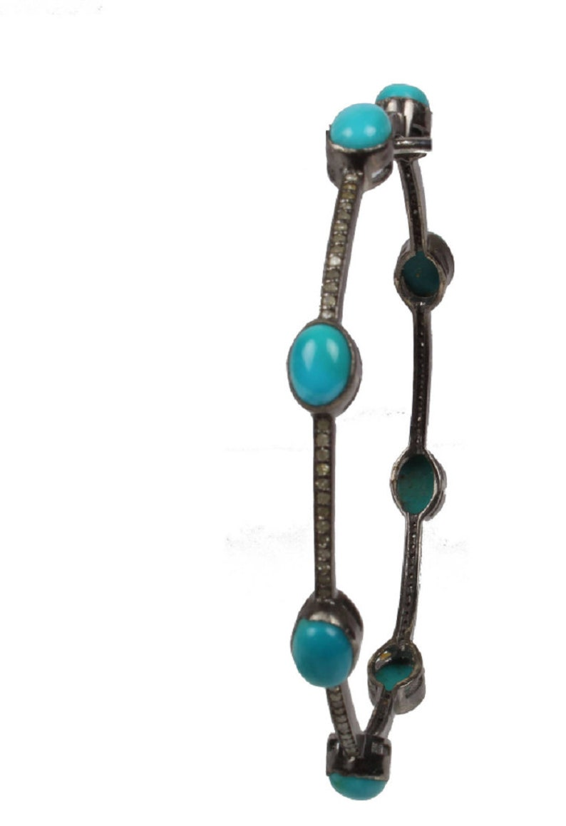 Solid sterling silver oxidized turquoise and pave diamond bangle