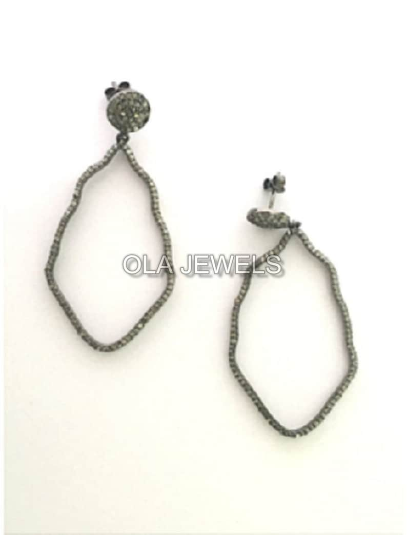 price for 1 pair Solid Sterling Silver black finish pave diamonds  dangle earrings
