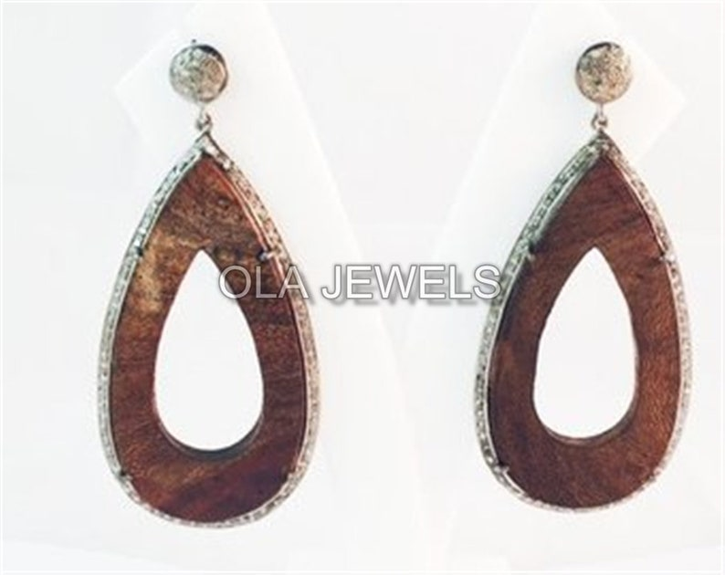 Solid Sterling Silver Black Finish Wooden Earring With white Diamonds around price for 1 pair