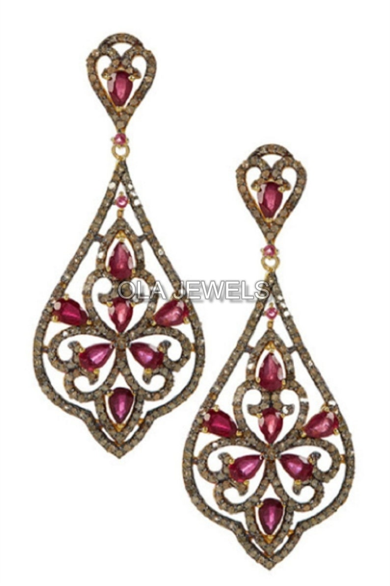 price for 1 pair Solid 925 Sterling Silver black finish Pave diamond and ruby earrings