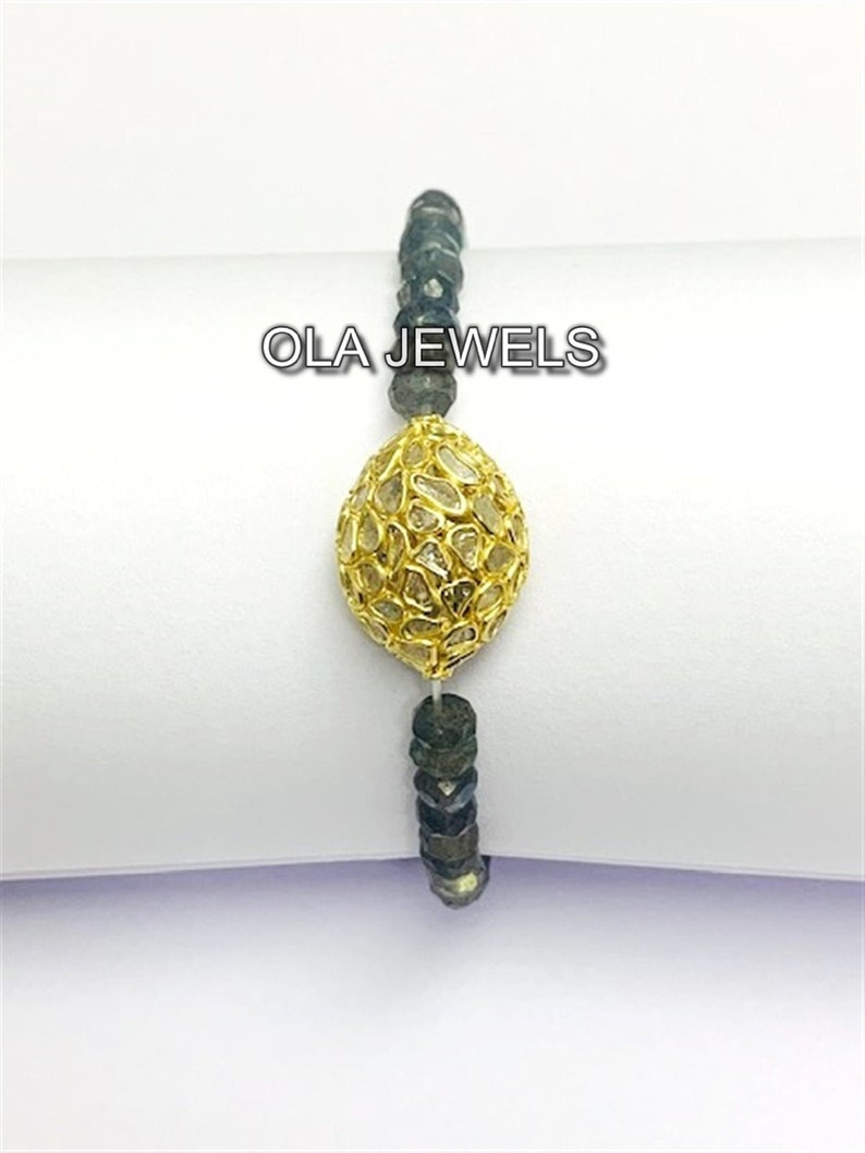 Indian Jewellery Handmade bracelet Sterling silver 925 gold finish slice diamond with labradorite bead stretch bracelet Diamond bracelet