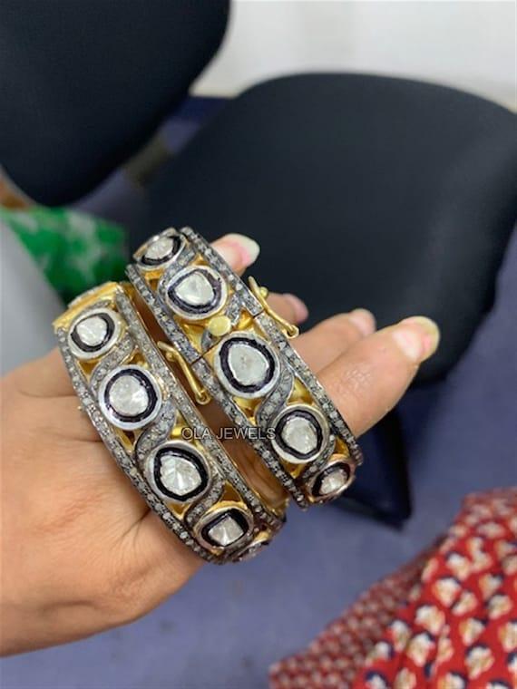 Very latest designer Rosecut pave diamond bangle 925 sterling silver handmade finish blue sapphire and diamond bangle bracelet
